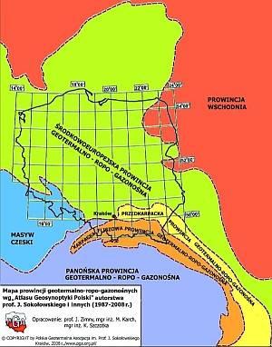 Mapa prowincji geotermalno-gazo-roponośnych wg Atlasu Geosynoptyki Polski, autorstwa prof. Juliana Sokołowskiego
